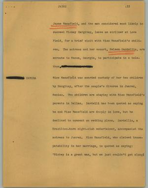 Primary view of object titled '[News Script: Jayne]'.