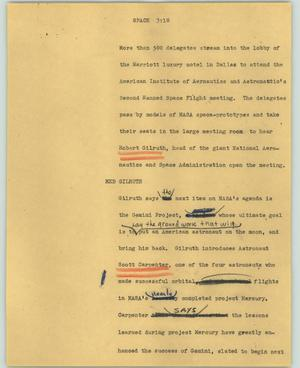 Primary view of object titled '[News Script: Space]'.