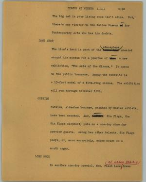 Primary view of object titled '[News Script: Circus at museum]'.