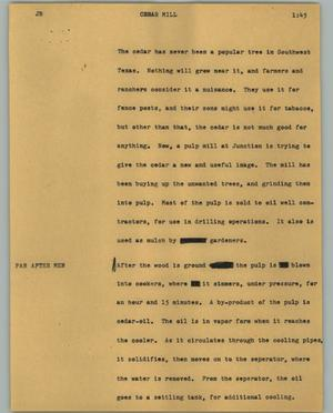 Primary view of object titled '[News Script: Cedar Mill]'.
