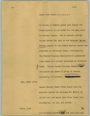 Primary view of object titled '[News Script: Grand jury probe]'.