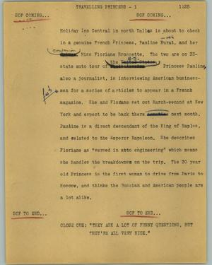 Primary view of object titled '[News Script: Travelling princess]'.