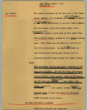 Primary view of object titled '[News Script: Miss Texas (again)]'.