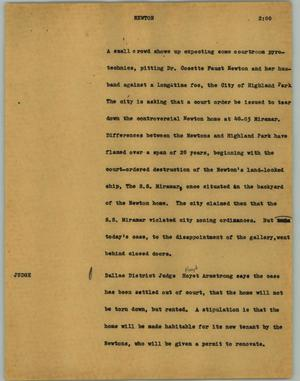 Primary view of object titled '[News Script: Newton]'.