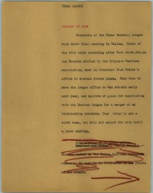 Primary view of object titled '[News Script: Texas League]'.