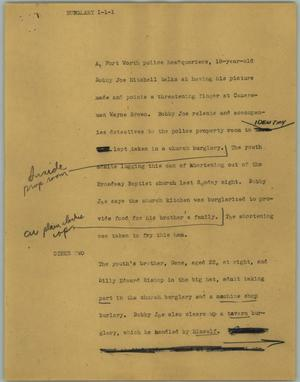 Primary view of object titled '[News Script: Burglary]'.