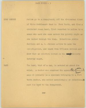 Primary view of object titled '[News Script: Hand found]'.