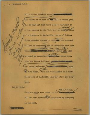 Primary view of object titled '[News Script: Portwood]'.
