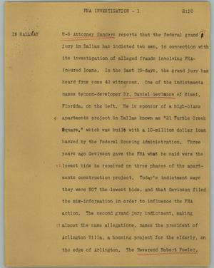 Primary view of object titled '[News Script: FHA investigation]'.