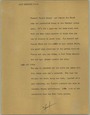 Primary view of object titled '[News Script: Lady shriners]'.