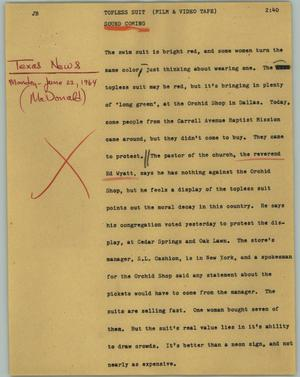 Primary view of object titled '[News Script: Topless suit]'.