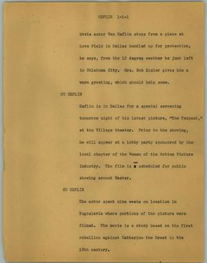 Primary view of object titled '[News Script: Heflin]'.