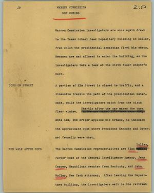 Primary view of object titled '[News Script: Warren commission]'.