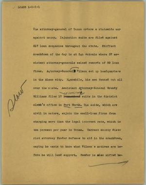 Primary view of object titled '[News Script: Loans]'.