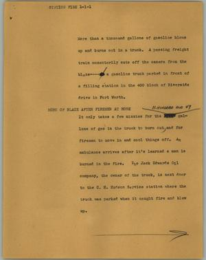 Primary view of object titled '[News Script: Station fire]'.