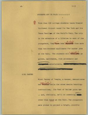 Primary view of object titled '[News Script: Students off to fair]'.