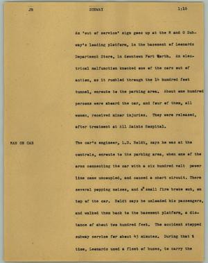 Primary view of object titled '[News Script: Subway]'.