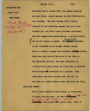 Primary view of object titled '[News Script: Carla]'.