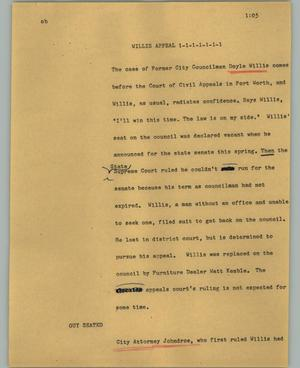 Primary view of object titled '[News Script: Willis appeal]'.
