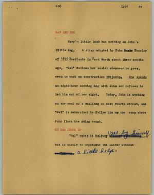 Primary view of object titled '[News Script: Dog]'.