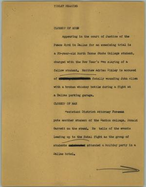 Primary view of object titled '[News Script: Tinley hearing]'.