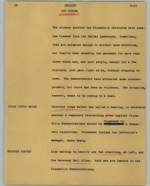 Primary view of object titled '[News Script: Hearing]'.