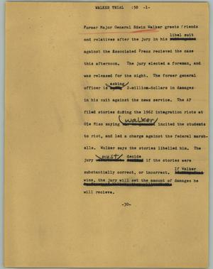 Primary view of object titled '[News Script: Walker trial]'.