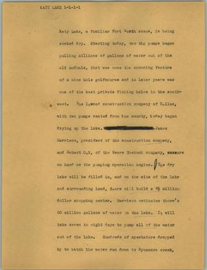 Primary view of object titled '[News Script: Katy Lake]'.