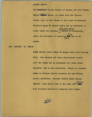 Primary view of object titled '[News Script: Blonde bandit]'.