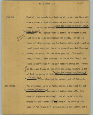 Primary view of object titled '[News Script: Fair girls]'.