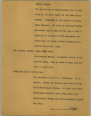 Primary view of object titled '[News Script: County commish]'.