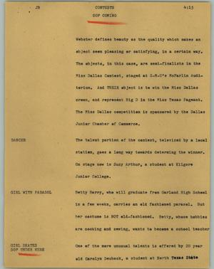 Primary view of object titled '[News Script: Contests]'.