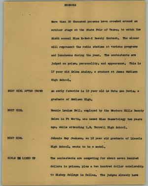 Primary view of object titled '[News Script: Negroes]'.