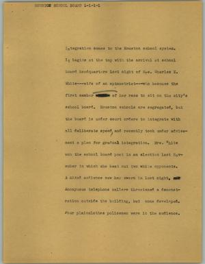 Primary view of object titled '[News Script: Houston school board]'.