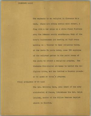 Primary view of object titled '[News Script: Cleburne]'.