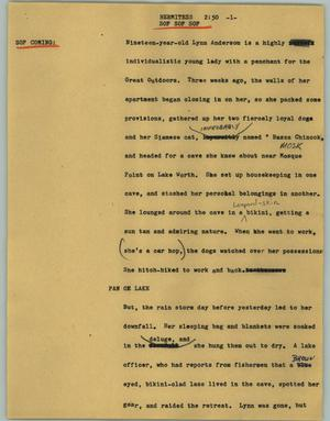 Primary view of object titled '[News Script: Hermitess]'.