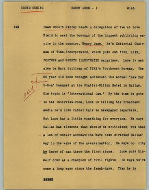 Primary view of object titled '[News Script: Henry Luce]'.