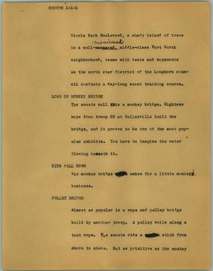 Primary view of object titled '[News Script: Scouts]'.