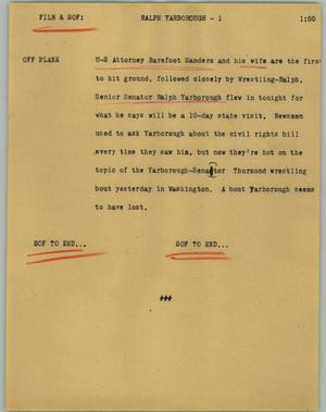 Primary view of object titled '[News Script: Ralph Yarborough]'.