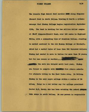 Primary view of object titled '[News Script: Bishop College]'.