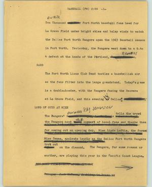 Primary view of object titled '[News Script: Baseball (FW)]'.