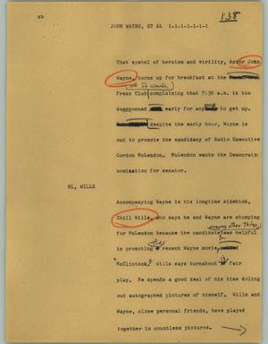 Primary view of object titled '[News Script: John Wayne, et al]'.
