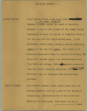 Primary view of object titled '[News Script: Radiation counter]'.
