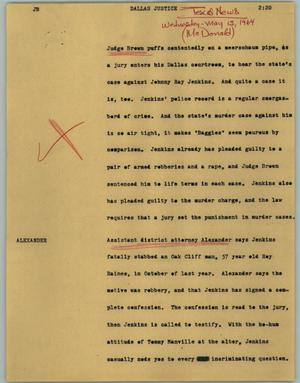 Primary view of object titled '[News Script: Dallas justice]'.
