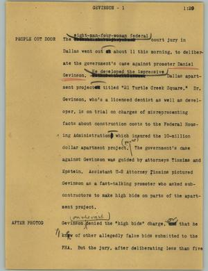 Primary view of object titled '[News Script: Gevinson]'.
