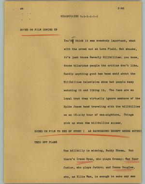 Primary view of object titled '[News Script: Hillbillies]'.