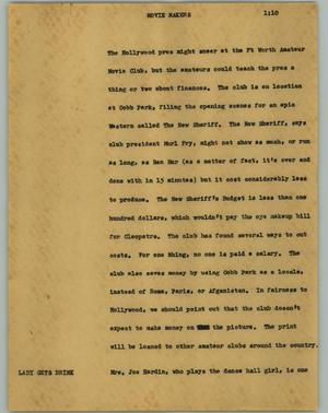 Primary view of object titled '[News Script: Movie makers]'.
