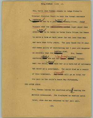 Primary view of object titled '[News Script: Mrs. Bowman]'.