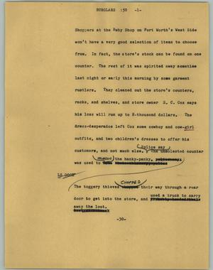 Primary view of object titled '[News Script: Burglars]'.