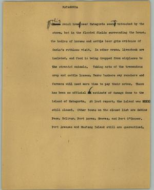 Primary view of object titled '[News Script: Matagorda]'.